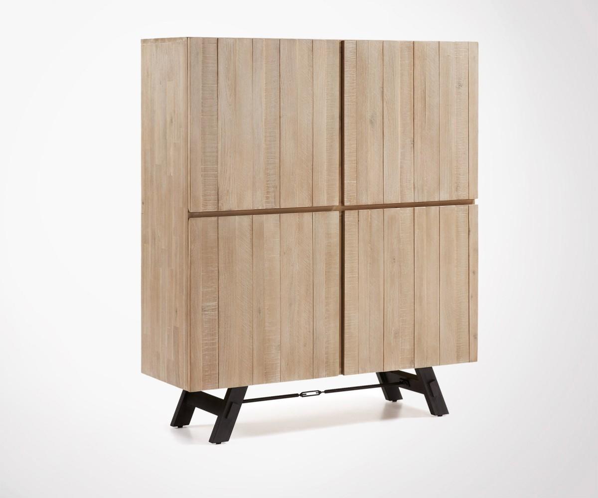 Buffet Haut 120x140cm Bois Acacia Style Moderne Haute