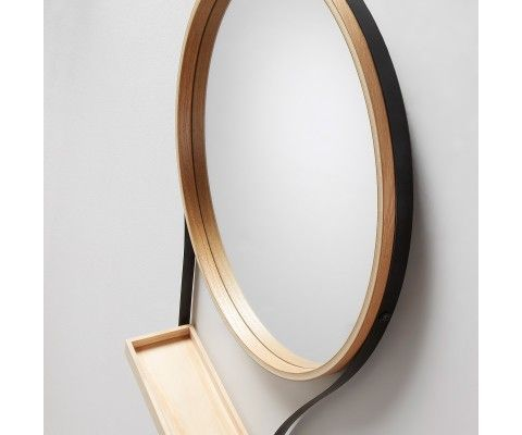 Miroir métal bois à suspendre WARLOW - 47cm