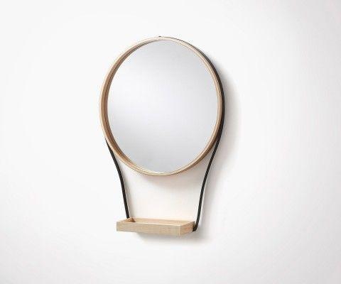 Miroir rond avec plateau bois WARLOW - 47cm