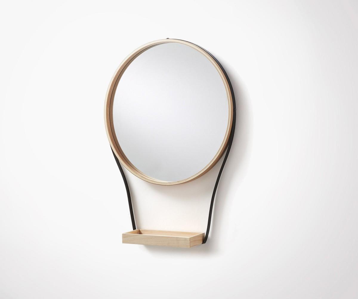 Miroir rond design minimaliste avec plateau suspendu for Miroir rond bois