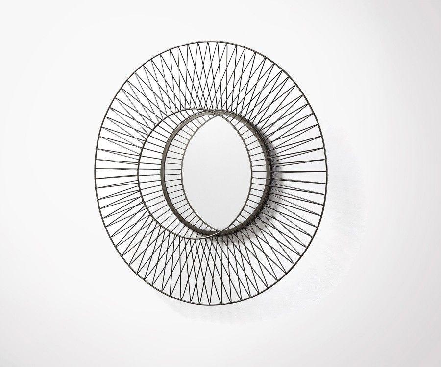 Miroir métal zinc argent BEYOU - 65cm