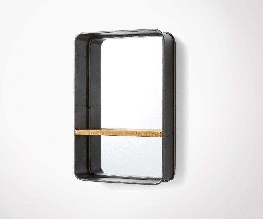 Miroir avec étagère métal bois BOYO - 51x77cm