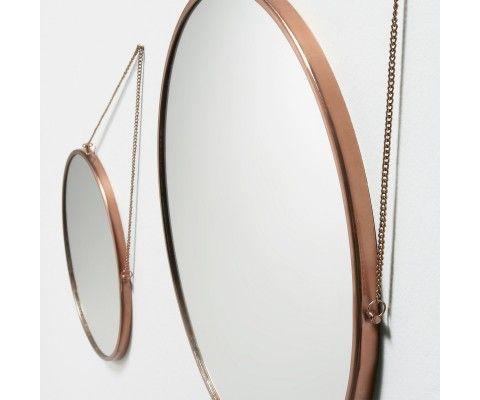 Lot 2 miroir design métal cuivre KONI