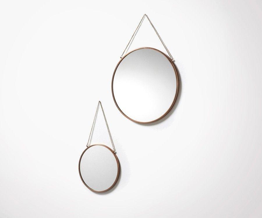 Lot 2 miroirs ronds m tal cuivr 2 tailles tendance for Grand miroir cuivre