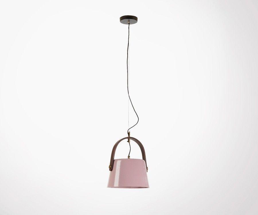 Lampe suspendue métal rose clair ZAYNA