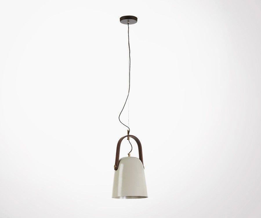 Lampe suspendue métal gris beige clair GRYL