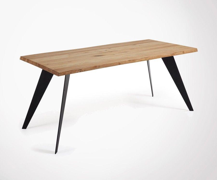 Table à manger chêne naturel pied blanc métal PROUV - 180cm