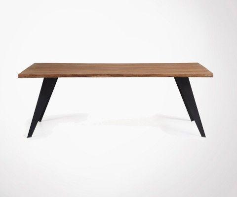 Table à manger chêne vieilli pied blanc métal PROUV - 180cm