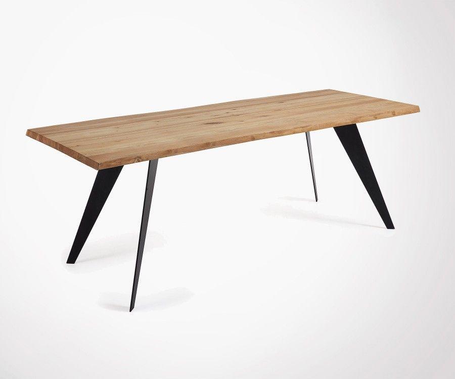 Grande table à manger chêne pied blanc PROUV - 220cm