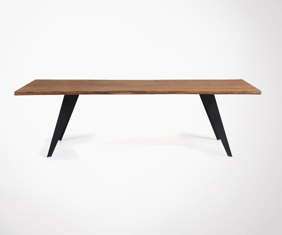 Grande table à manger chêne vieilli pied blanc PROUV - 220cm
