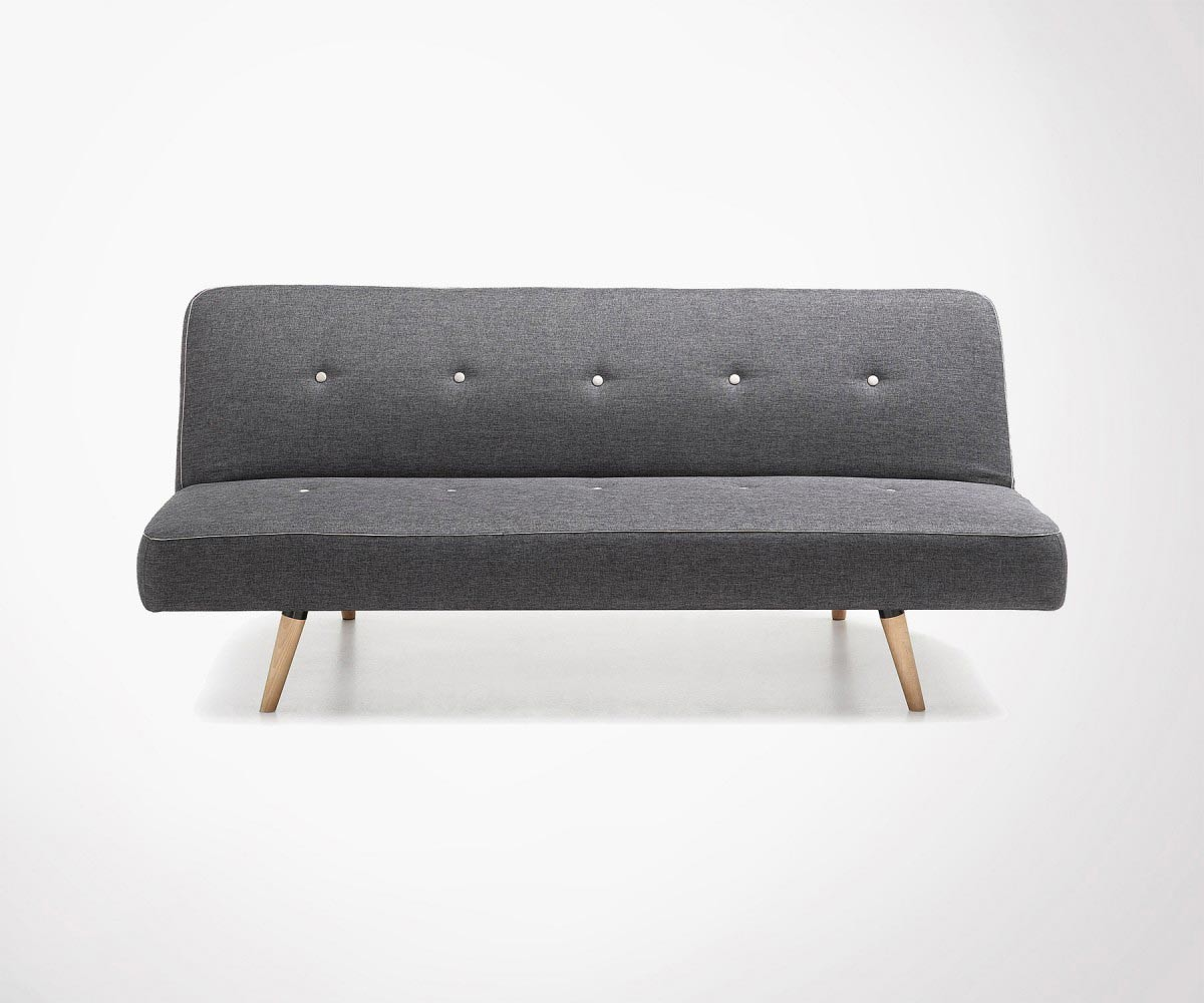 Large Convertible Sofa In Grey Fabric Cm Top Design - Canapé convertible 2 places tissu