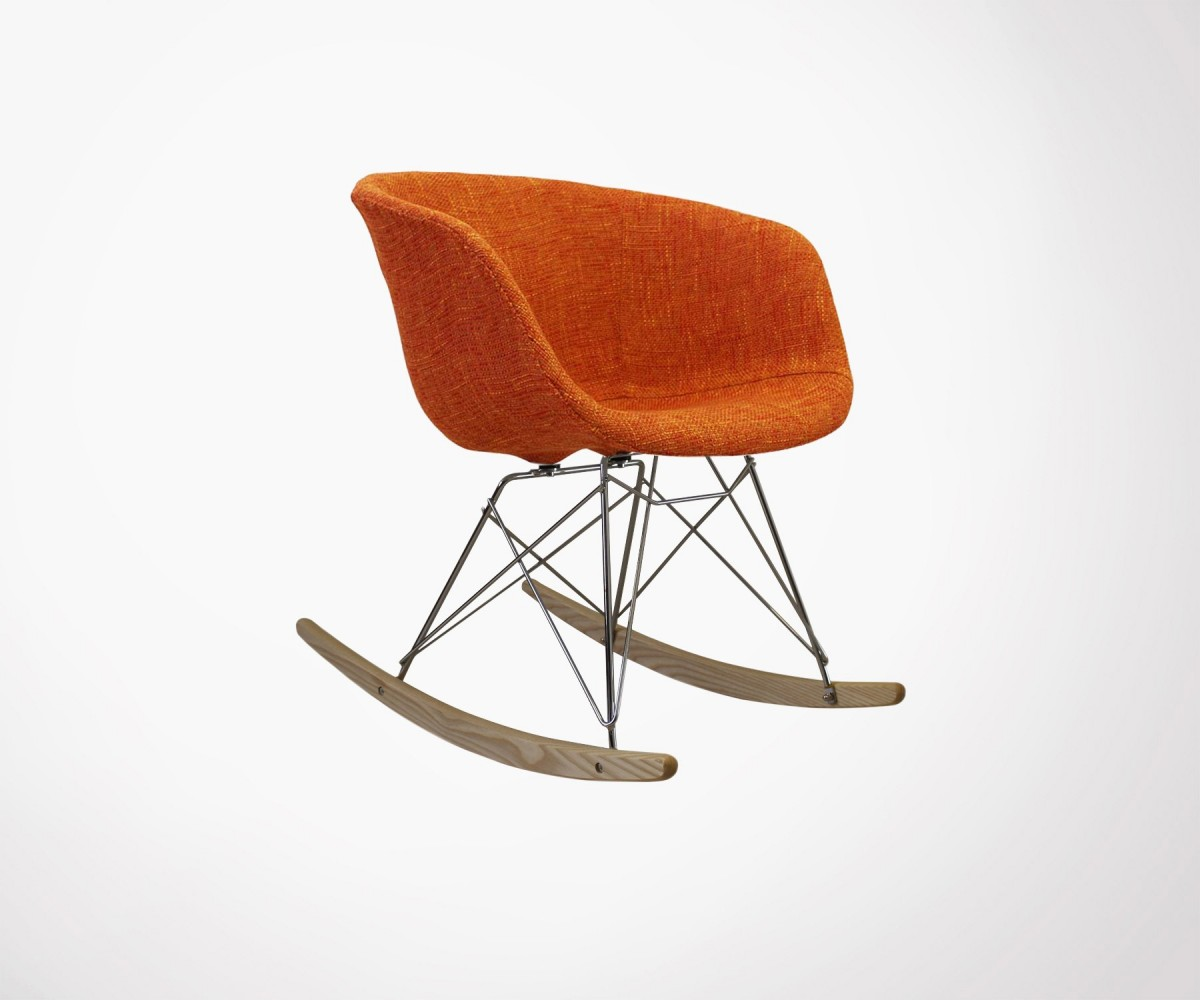 Padded rocking armchair inspired by the ray chair from eames for Fauteuil eames rocking chair