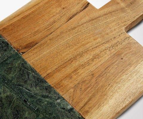 Planche à découper bois et marbre vert ARYB