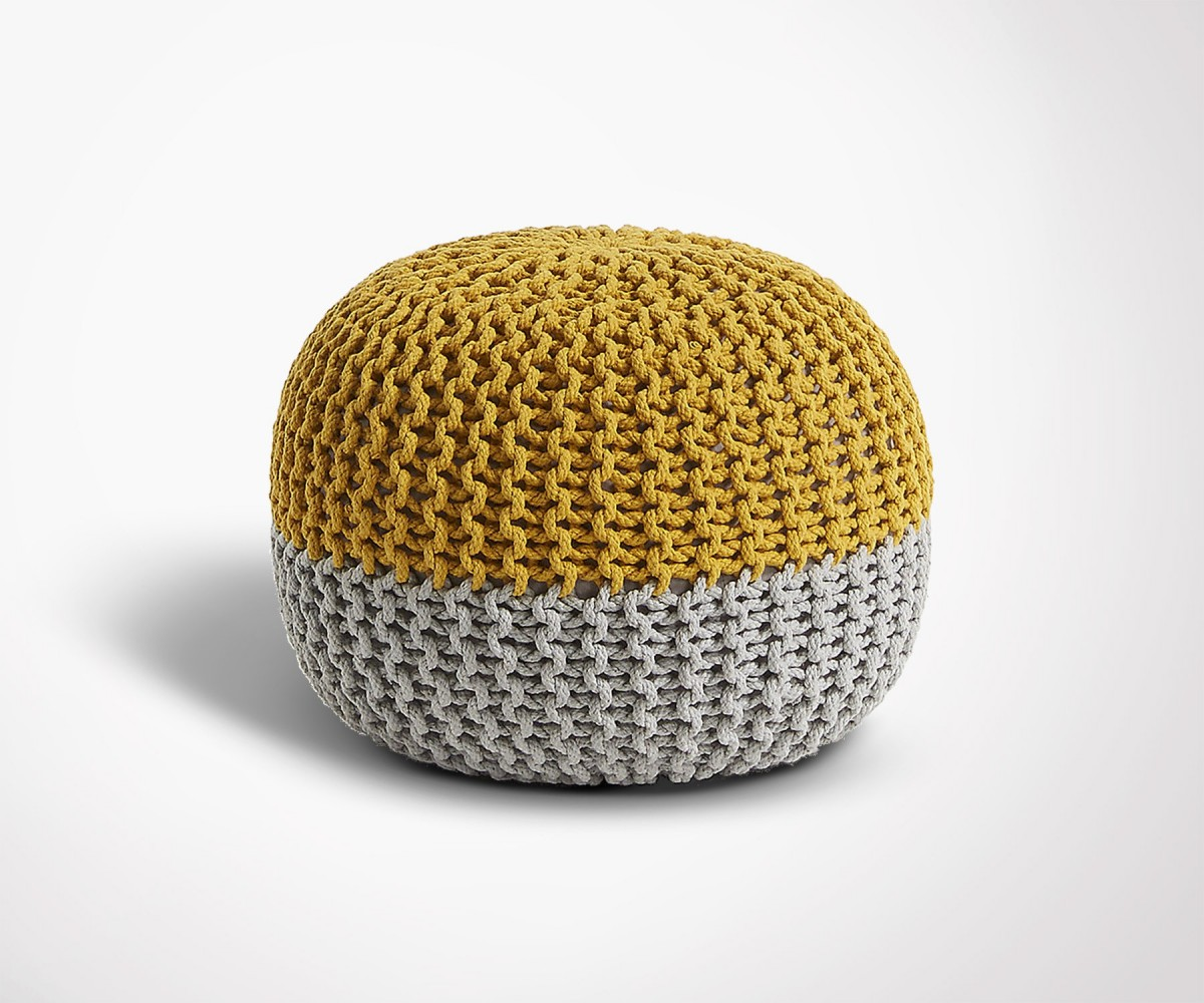 pouf moutarde en coton design moderne et cosy. Black Bedroom Furniture Sets. Home Design Ideas