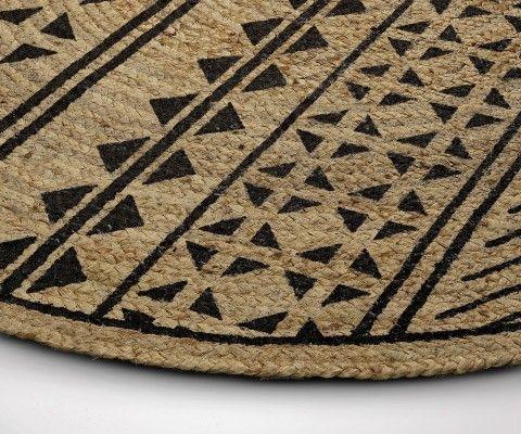 Tapis rond jute CECILIA naturel noir - 100cm