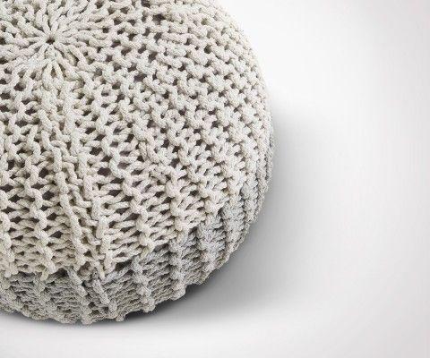 Pouf design coton rond HERINE - 50x35cm