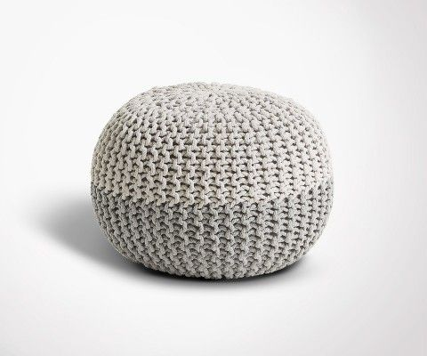 HERINE grey pouf cotton round - 50x35cm