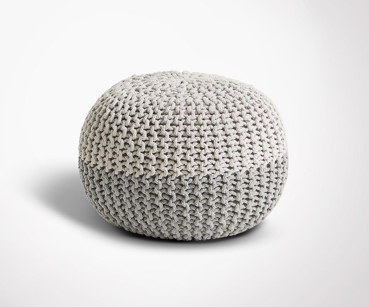 pouf rond coton gris et blanc design moderne. Black Bedroom Furniture Sets. Home Design Ideas