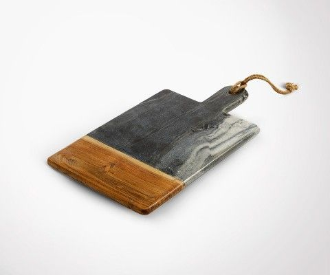 HUT grey marble and wood cutting board