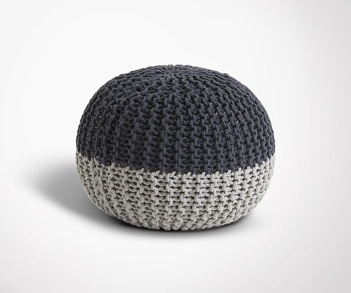 pouf design rond en coton gris et noir coup de coeur assur. Black Bedroom Furniture Sets. Home Design Ideas