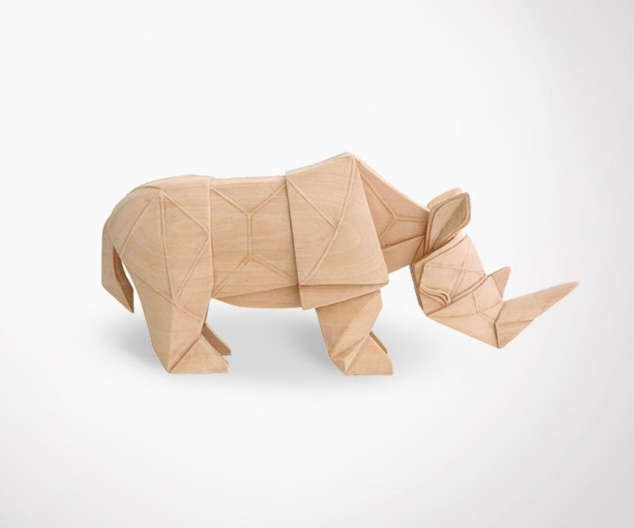 Sculpture bois naturel RHINO - 34cm