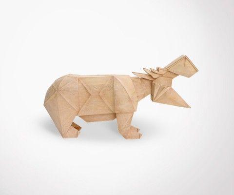HIPPO wood carved objet - 34cm