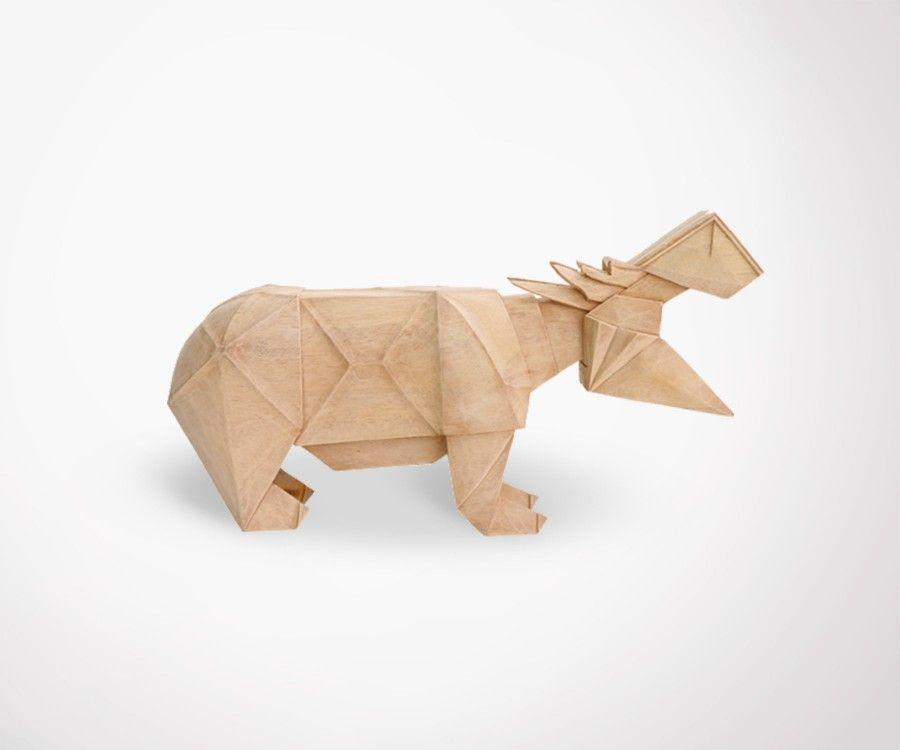 Sculpture hippopotame bois naturel fait main hk living for Objet decoration hippopotame