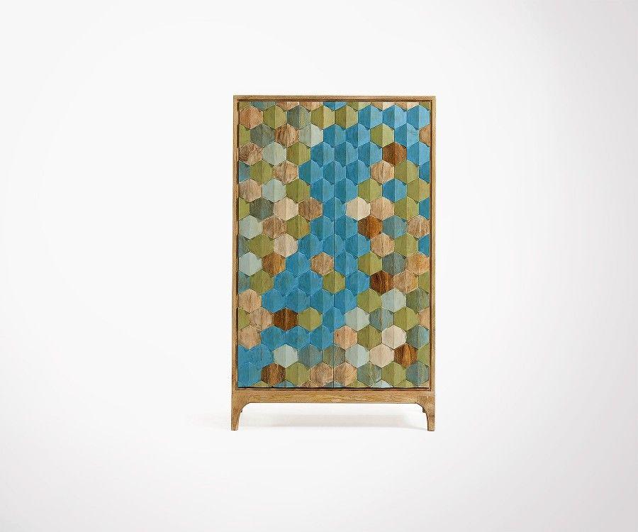 Armoire style bohème multicolor KAMI - 85x140cm