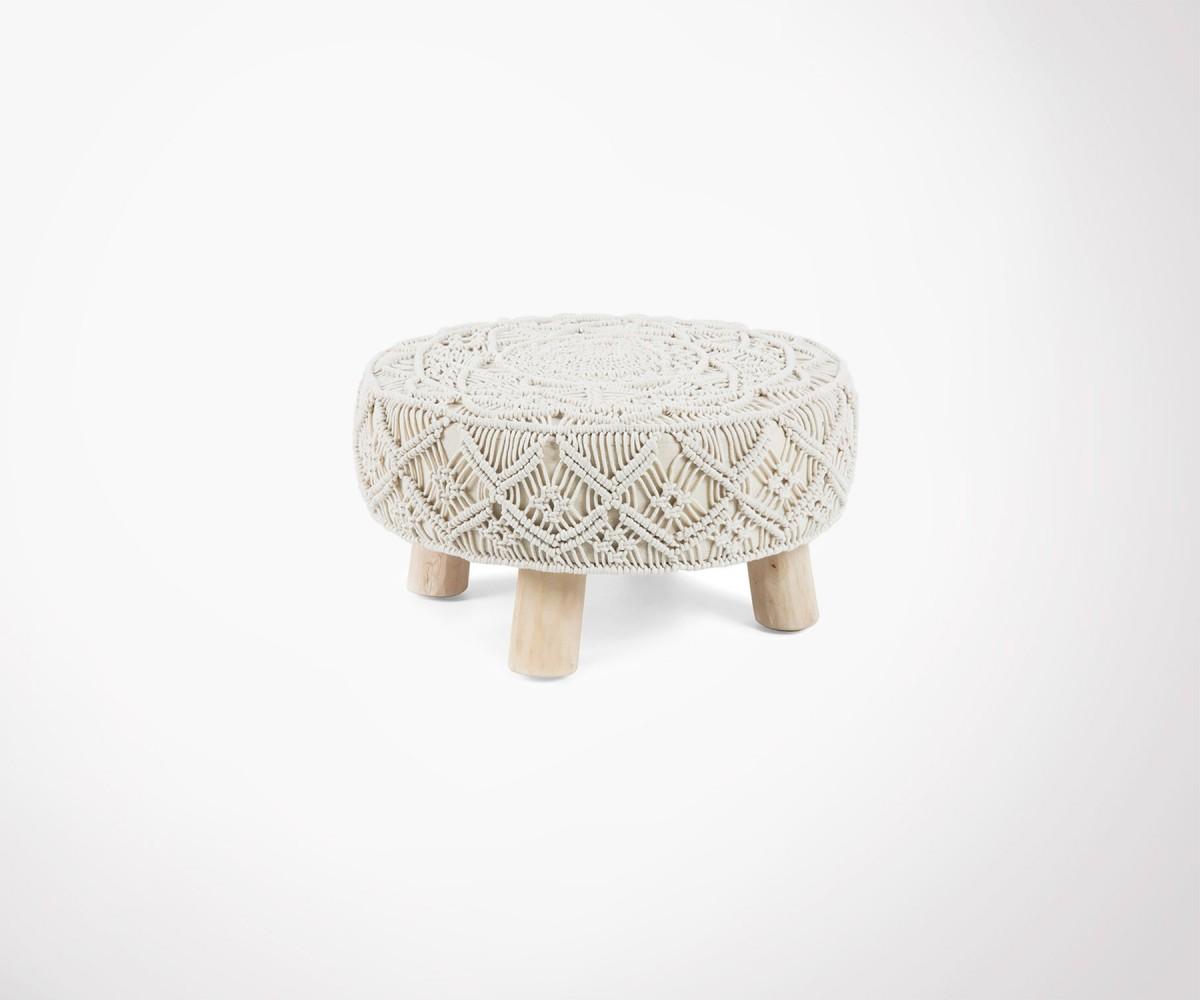 tabouret repose pied style ethnique finition bois coton. Black Bedroom Furniture Sets. Home Design Ideas