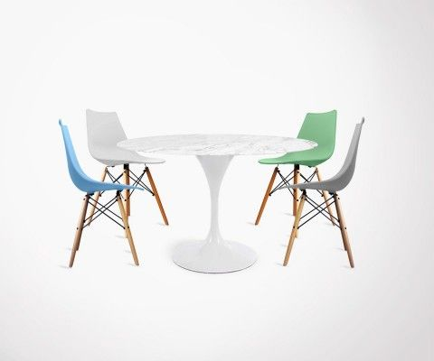 Set of 4 DIVA scandinave style chairs + Tulip style marble table - 120cm
