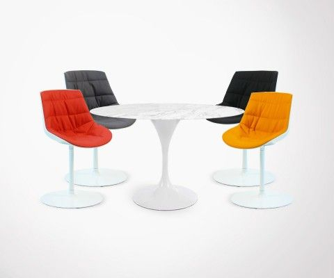 Set of 4 TULIP-FLOWER Chair + TULIP-FLOWER Marble Table - 120cm