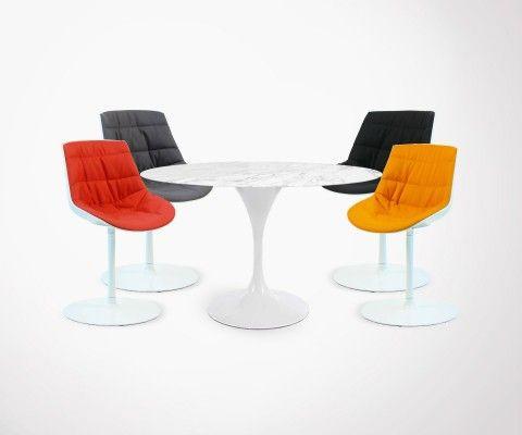 Set of 4 TULIP-FLOWER Chair + TULIP-FLOWER Marble Table - 120cm
