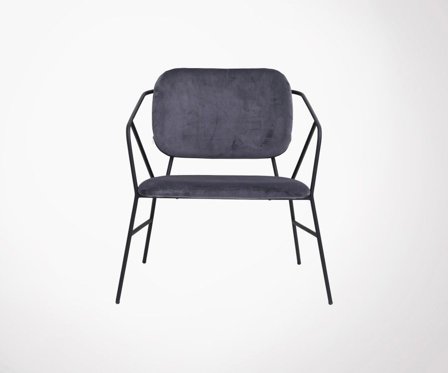 KLEVER velvet and metal lounge chair - House Doctor