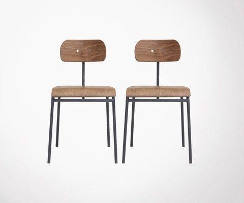 Lot 2 chaises bois métal style école HOOL - House Doctor