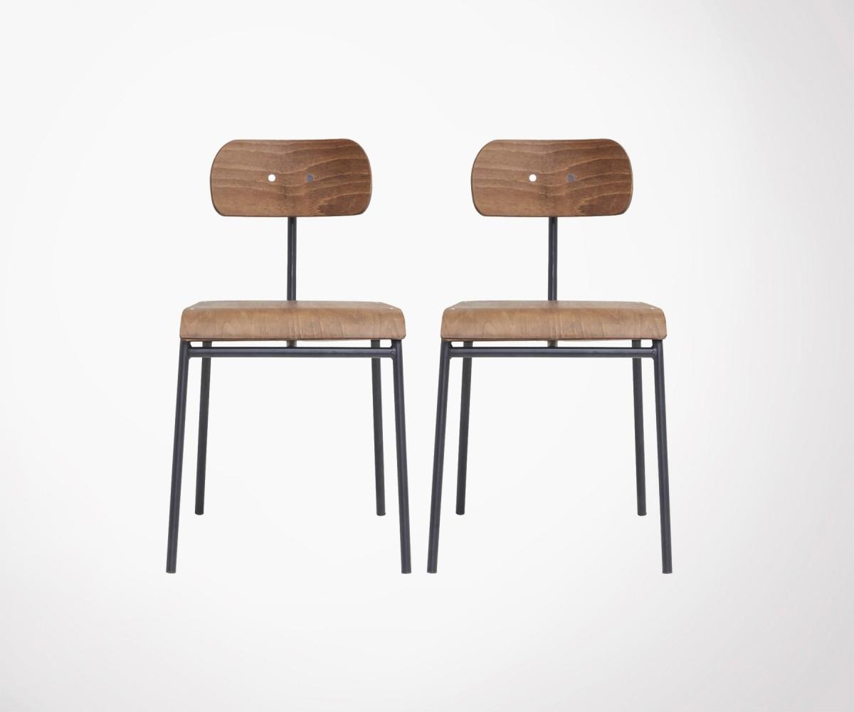 lot 2 chaises design métal bois inspirées chaise école - house doctor