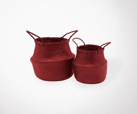 2 DJANGO Straw Baskets - bordeaux - 35 cm