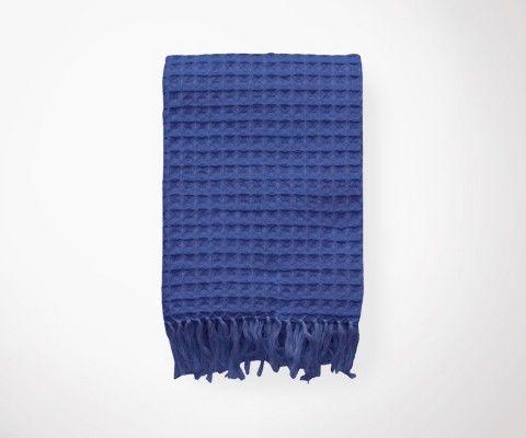 Plaid WAFFLE bleu tempête - 130x190 cm