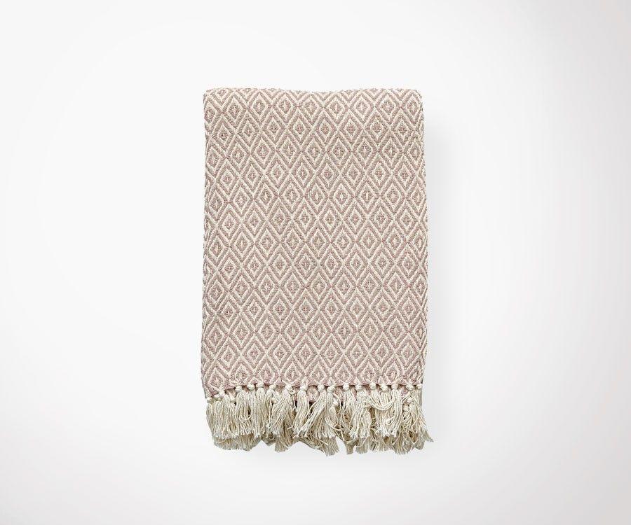 Plaid ETHNIC écru/mauve - 130x180 cm