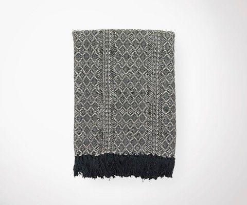 Plaid ETHNIC écru/noir - 130x180 cm