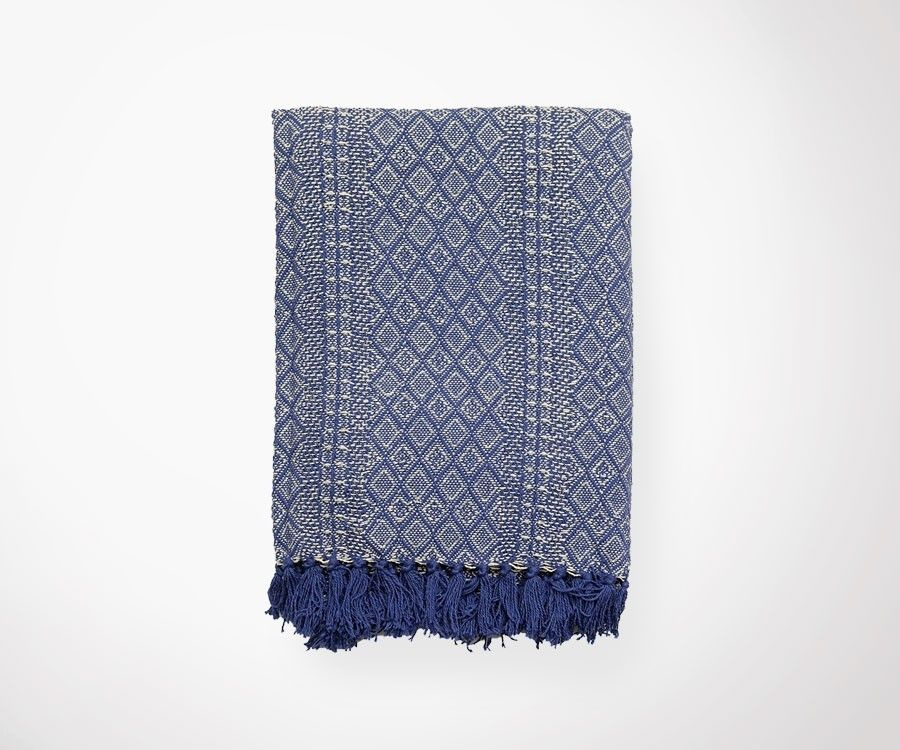 Plaid ETHNIC écru/bleu foncé - 130x180 cm