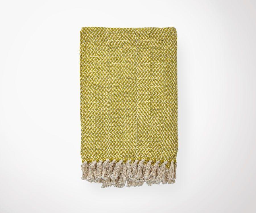 Plaid NORDIC moutarde/écru - 130x180 cm