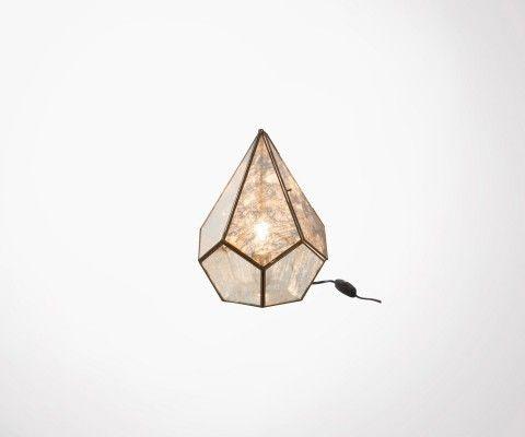 Lampe de table verre gris et métal DIAM - 31 cm