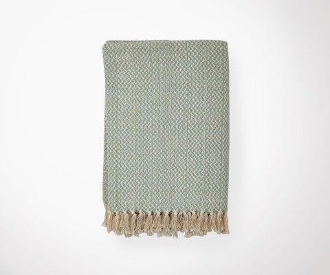 Plaid NORDIC vert d'eau/écru - 130x180 cm