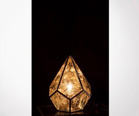 Gray and metal glass table lamp DIAM - 31 cm