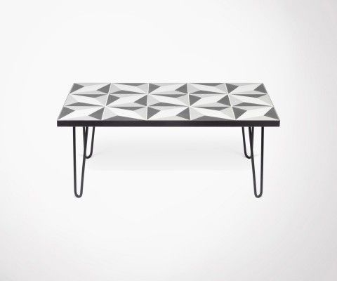 Coffee table with black metal cement tiles ARROW