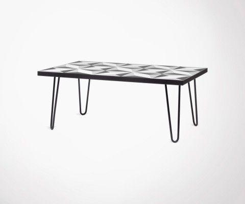 Table basse avec carreaux de ciment pieds métal noir ARROW