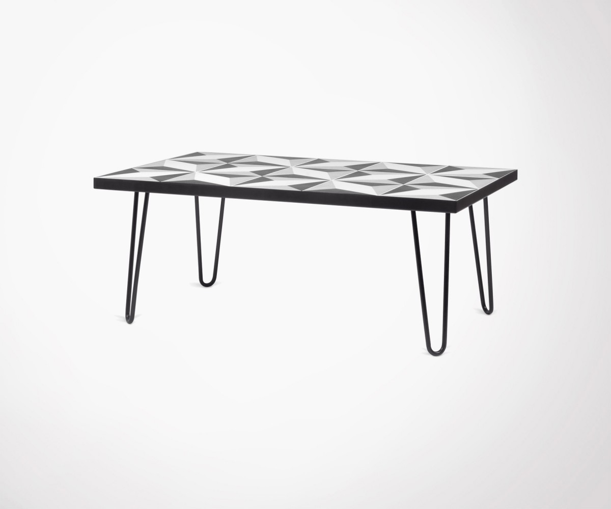 Temahome Coffee Table Black Metal Feet And Cement Tiles Top
