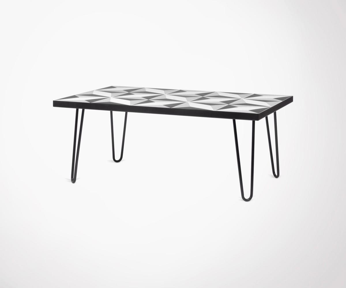 table basse carreaux ciment et m tal noir temahome 101 cm. Black Bedroom Furniture Sets. Home Design Ideas