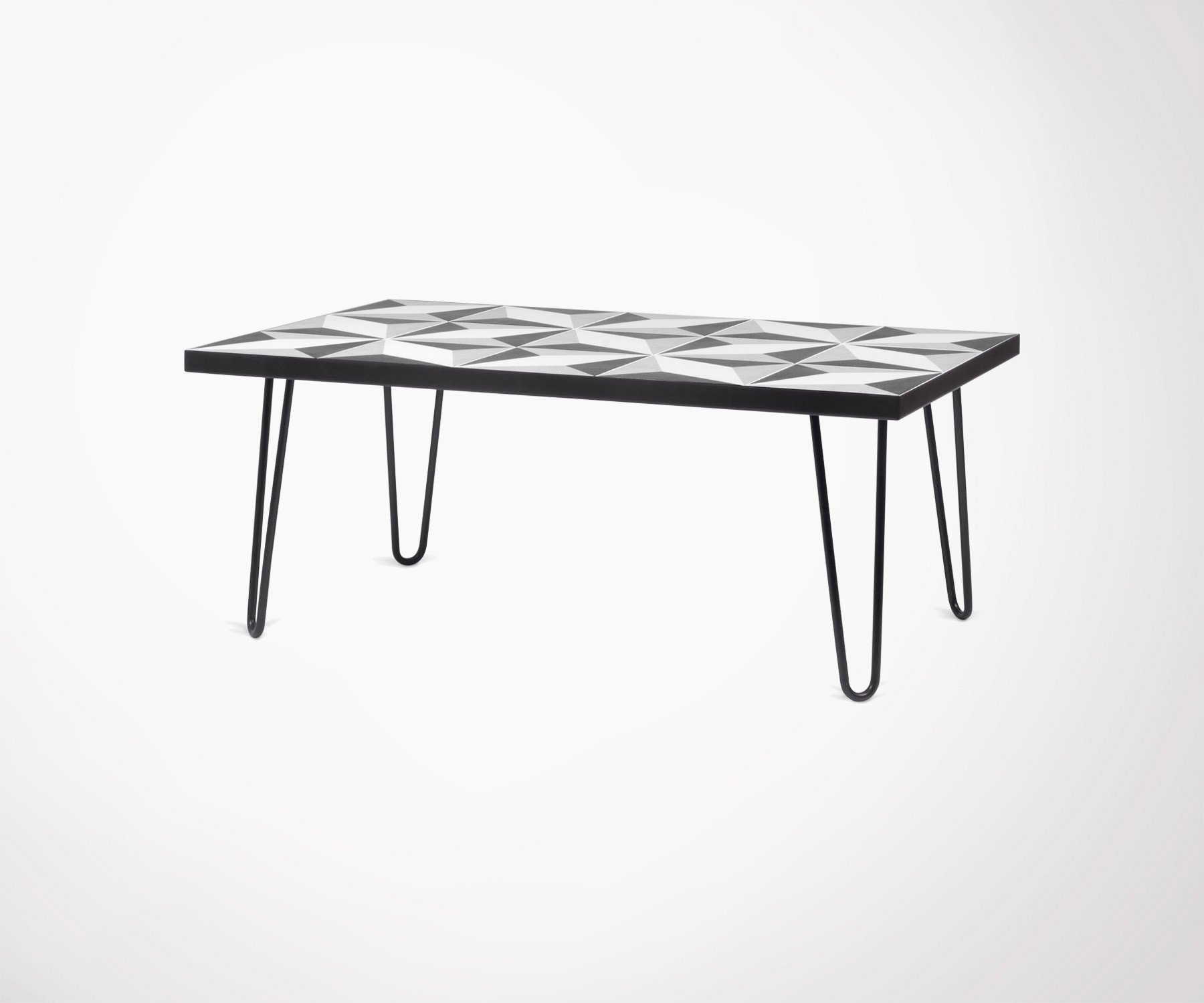 85a0c66f3efd4b Table basse bois noyer et chêne. Pieds métal cuivré. Style moderne