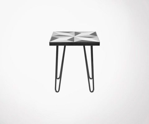 Side table with cement tiles and black metal legs ARROW